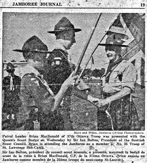Brian MacDonald receives his Queen's Scout Award from the Chief Scout of Scotland at WJ'55