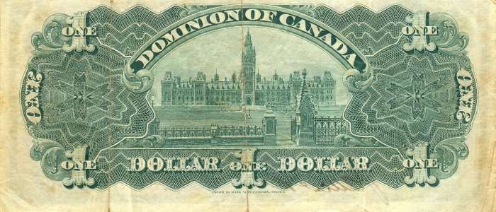 Old Canadian dollar bill, back.