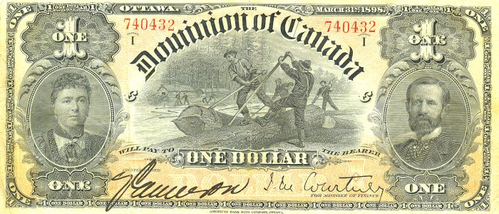 Old Canadian dollar bill, front.