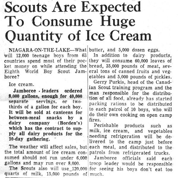 Article about food at WJ'55.