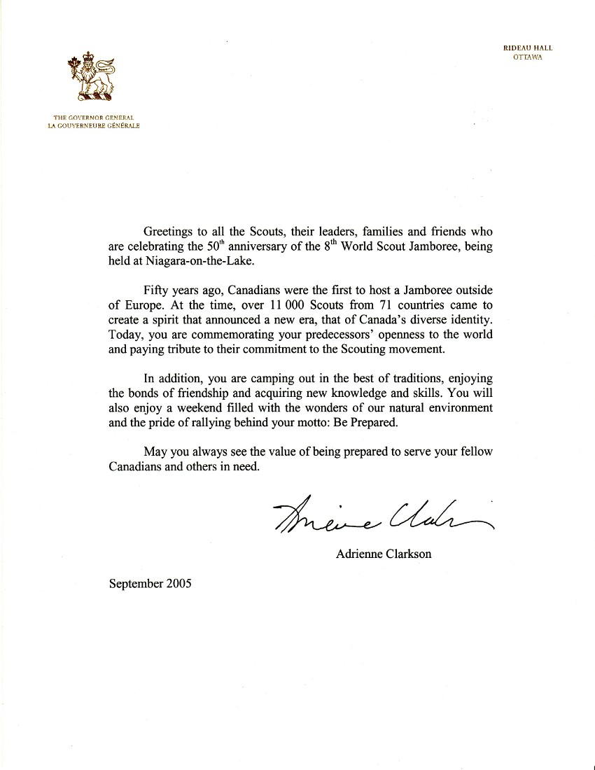 Anniversary Message from Adrienne Clarkson, Governor General of Canada