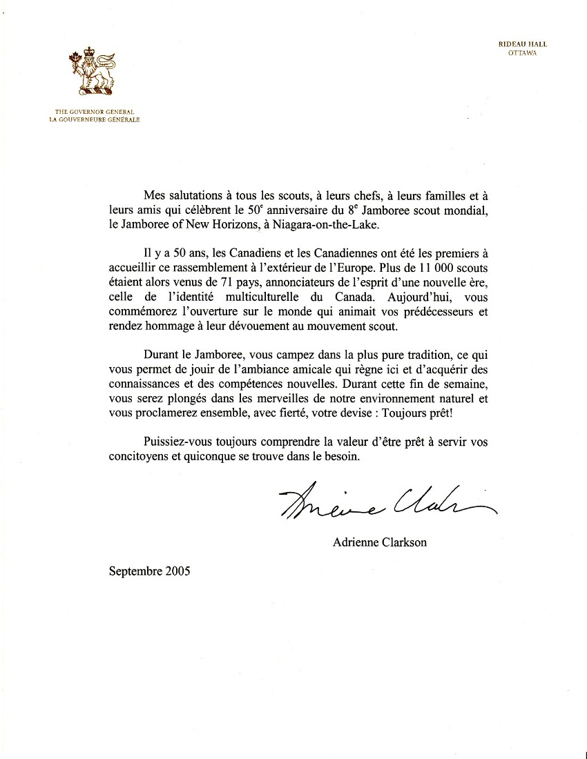 Anniversary Message from Adrienne Clarkson, Governor General of Canada, French