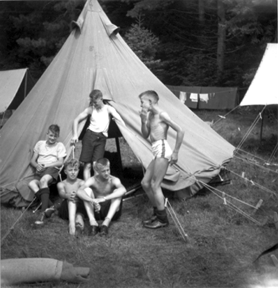 Scouts by their Bell tent.