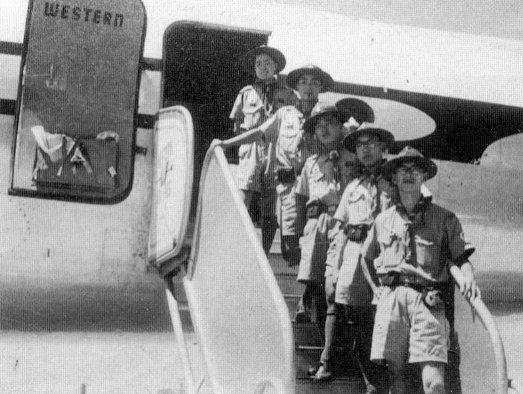 Japanese Scouts getting off an airplane