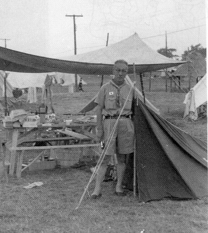 A Japanese Scout at his campsite