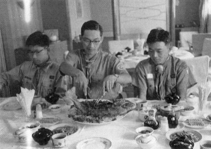 Japanese Scouts eating dinner