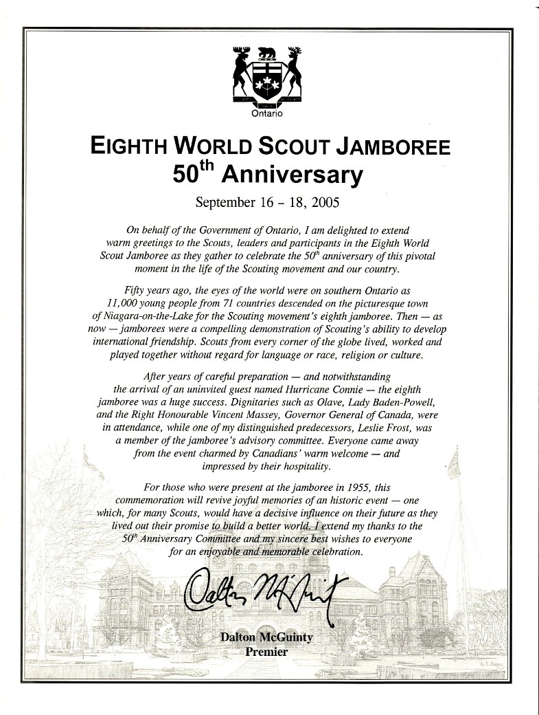 Anniversary Message from Dalton McGuinty, Premier of Ontario