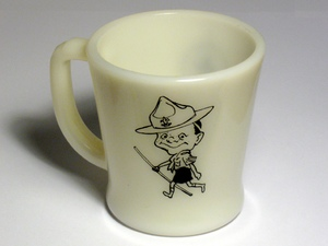 Back of mug, showing a carititure of a Scout
